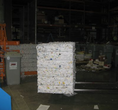 Shredded Material on Forklift