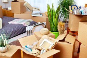 Bedroom clutter after moving