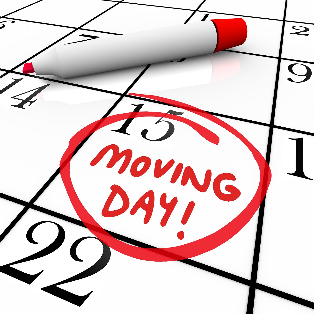 Moving Day Circled Calendar Important Date Reminder - Midway Moving