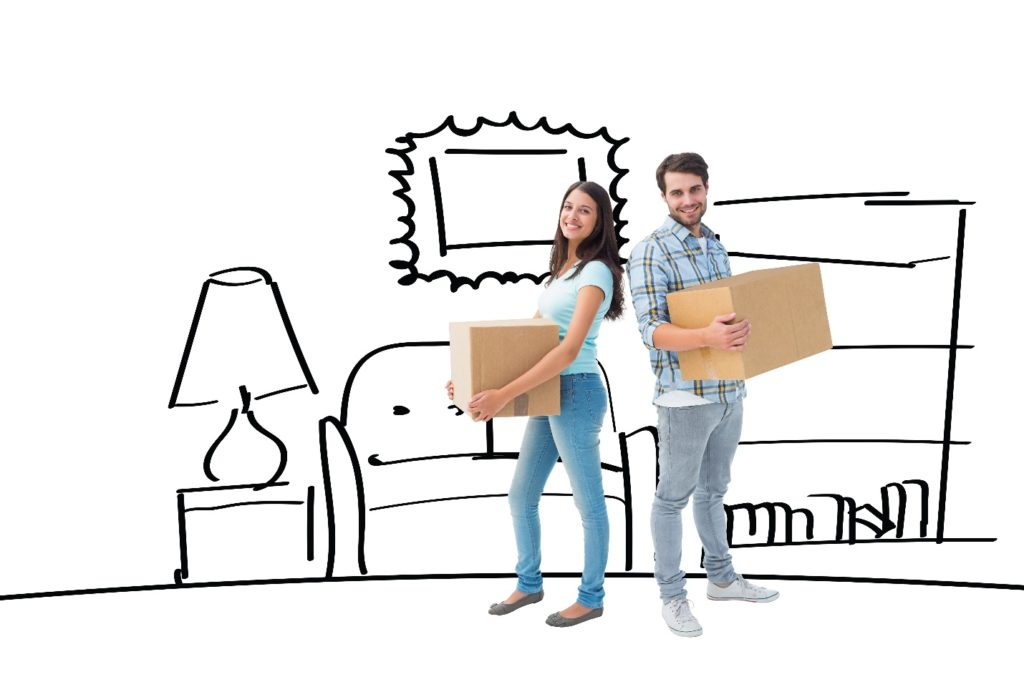 couple with stuff moving to new home